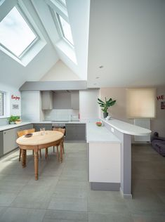 A really interesting way to use velux windows or skylights and change the way this kitchen diner extension looks. Love how it's flooded with daylight, makes it feel so spacious. Kitchen Tiles Design, Kitchen Wall Tiles, Kitchen Cabinet Design, Interior Design Kitchen, Farmhouse Kitchen Cabinets, Modern Farmhouse Kitchens, Layout Design, Kitchen Diner Extension, Diy Kit
