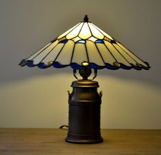 Chinese umbrella Tiffany lamp. Stained glass lamp. Milk can base. Vintage Tiffany Style Table Lamp.
