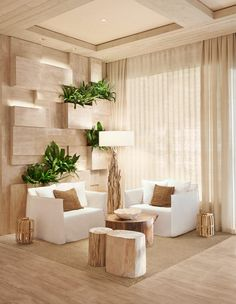 Combine lighting, plants, woods. Natural, clean, cool, relaxing with the city outside, this is a sanctuary. Easy to create.