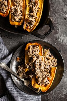 harissa + coconut milk baked delicata squash with lentils + toasted ...