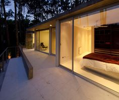 Bedroom Balcony Evening View Lighting Fresno House Id944 - Fresno House In Carilo Argentina - Modern House Tours - Architecture Design