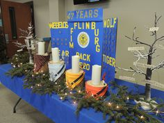 "Cub Scouts Blue and Gold - I like the ""core value trees"" and a touch of the outdoors brought inside. ~Lani"
