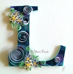Commission piece: The letter & # L & # appropriate - Best Paper Quilling Designs Quilling Letters, Paper Quilling Patterns, Quilling Paper Craft, Paper Crafts, Neli Quilling, Quilling Tutorial, Filigrana Neli, Quiling Paper, Quilled Creations
