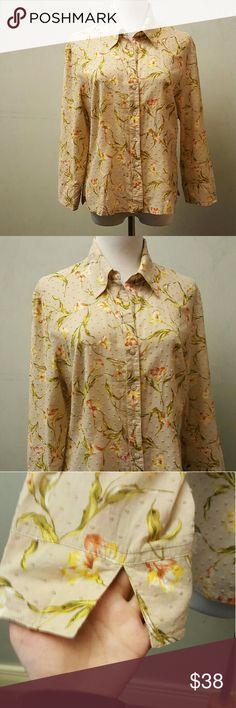 Talbots tan floral blouse Talbots 100% cotton tan floral blouse 3t4 sleeve in great condition Talbots Tops Blouses