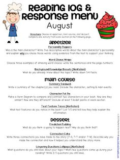 Reading Response Menus Throughout the Year - 3rd Grade Thoughts