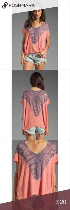 "Free People Double Team Watermelon V-Neck Tie Dye PRICE IS FIRM AND NON-NEGOTIABLE. NO OFFERS. LOWBALLERS WILL BE BLOCKED. NO TRADES. Gorgeous We The Free ""Double Team"" tee in Watermelon Blue Combo, size M. By Free People. A web of tie dye fans out around the low-slung v-neckline of this slouchy tee. An arced asymmetrical hem perfectly echoes the loose and modern shape. Intentionally distressed and pilled overall appearance for an edgy look. Super soft. Free People Tops Blouses"