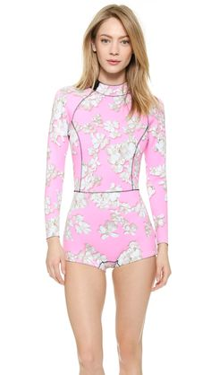 Cynthia Rowley Pink Embellished Floral Wetsuit