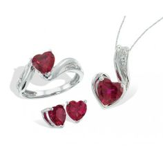 Sterling Silver, Lab-Created Ruby and Diamond Set Samuels Jewelers. $224.25. Save 25%!