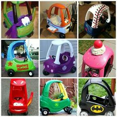 Little Tike Cozy Coupe Makeovers - Crafty Morning Cool Diy, Toddler Toys, Kids Toys, Toddler Fun, Baby Toys, Little Tykes Car, Little Tikes Makeover, Cozy Coupe Makeover, Pokemon