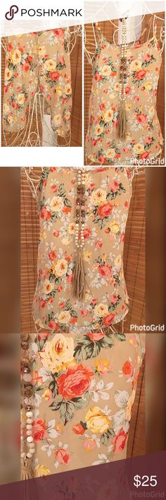 Taupe cropped tulip back floral tank Beautiful floral print in a semi cropped tulip back tank Tops Tank Tops