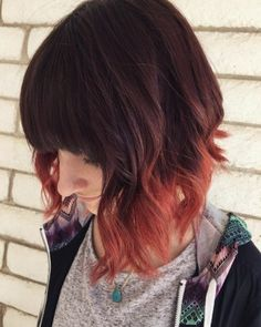Copper Red Dip Dye Bob Mais