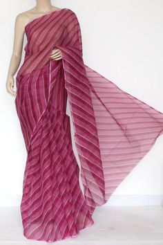Rani Pink Real JP Kota Doria Laharia Printed Cotton Saree (without Blouse) 15287