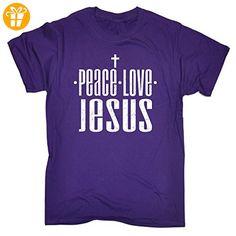 123t Peace Love...  Herren T-Shirt Violett Violett - Shirts mit spruch (*Partner-Link)