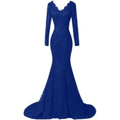 Duraplast Women's Plus Size Dress Mermaid Lace Evening Long Gown with... ($149) ❤ liked on Polyvore featuring dresses, gowns, blue evening gown, long sleeve ball gowns, evening gowns, lace evening dresses and long sleeve evening gowns