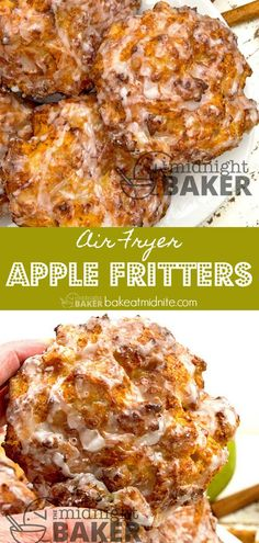 Fryer Apple Fritters - The Midnight Baker Make them easy in the air fryer! Less fat and only 4 main ingredients!Make them easy in the air fryer! Less fat and only 4 main ingredients! Air Fryer Recipes Potatoes, Air Fryer Oven Recipes, Air Fryer Recipes Vegetables, Airfryer Cooking Recipes, Airfryer Breakfast Recipes, Air Fryer Chicken Recipes, Cooker Recipes, Air Fryer Recipes Donuts, Air Fryer Recipes Vegetarian