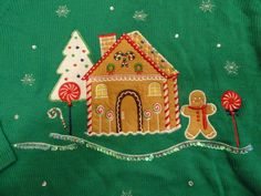 NWT Women's Gingerbread House Sweater Sz XXL (20) Green + Bling #HolidayTime #Crewneck