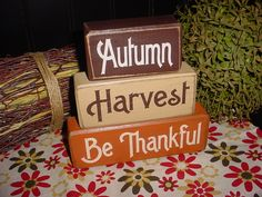 Autumn Harvest Be Thankful Wood Sign Shelf Blocks Primitive Country Rustic Holiday Seasonal Home Decor. $25.95, via Etsy.