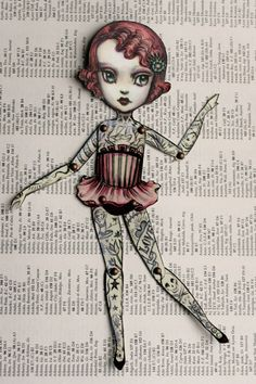 You Are So Special - The Amazing Tattooed Girl - fully assembled articulated paper doll by Mab Graves. $13.00, via Etsy.
