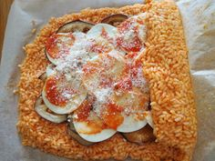 Meatloaf with rice Parmigiana - meal Vegetarian Recipes, Cooking Recipes, No Salt Recipes, Antipasto, Meatloaf, Finger Foods, Italian Recipes, Food Porn, Food And Drink