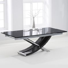 Mark Harris Hanover Glass Extending Dining Table and 8 Hereford Z Chairs - Chrome and Black - CFS Furniture UK White Extending Dining Table, Black Glass Dining Table, Glass Dining Room Table, Modern Dining Table, Extendable Dining Table, Dining Table Chairs, Dining Room Design, Dining Furniture, Table Legs