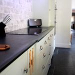Slate kitchen worktops with electric oven hob Slate Worktops, Kitchen Worktops, Kitchen Cabinets, Electric Oven And Hob, Slate Kitchen, Kitchen Gallery, Work Surface, Work Tops, Countertops