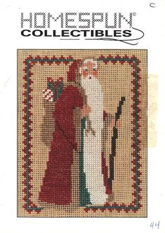 Homespun Collectibles 44 Tall Walking Santa Counted Cross Stitch OOP Vintage #HomespunCollectibles