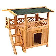 Amazon.com : Pet Dog House Waterproof Puppy Room Indoor Outdoor Roof Balcony Bed Wooden : Pet Supplies
