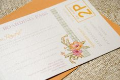 Vintage Tropical Flowers and Hummingbirds Passport Wedding Invitation (Mexico)