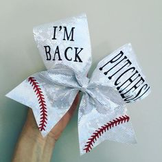 I'm Back PITCHES HOLOGRAPHIC SPANDEX bow! Ponytail holder attached! FREE SHIPPING!