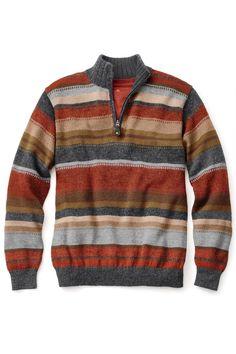 Alpaca Striped Zip Mock Sweater | Territory Ahead