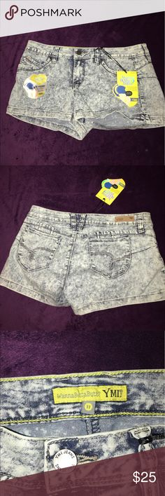 YMI Wanna Berta Butt Shorts NEW Size 11 YMI Wanna Berta Butt Shorts NEW Size 11! NEW WITH TAGS!! Blue distressed jean shorts. YMI Shorts Jean Shorts
