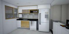 Cozinha Clean Branca e madeira, bancada em granito preto São Gabriel, fundo patchwotk gold Eliane Projeto: Alessandra Onofri