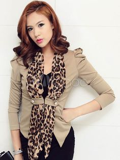 [$31.99] Casual Leopard Print Pleated Blazer For Women