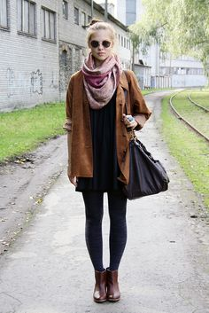 black and brown with a purple pashmina.