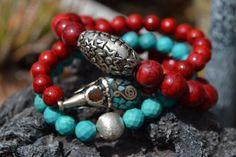 Set of 3 Boho Beaded Stretch Bracelets by uniquebeadingbyme