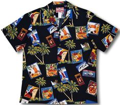 Pan American Hawaii Express Men's Hawaiian (RJC) R. J. Clancey Shirt is Available in Red, Black and Cream.   Featuring: Pan American Hawaii Express, China Clipper, Hawaii South Seas, Hula Apples, Hawaiian Breezes, Coconut Trees, Ukuleles, Hula Scenes