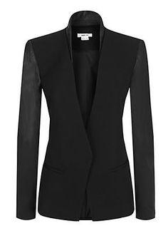 Helmut Lang - Cruz Wool Leather Sleeve Blazer