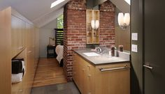 beautiful idea for what to do with that chimney in the attic!, is still plaster it though. Attic Inspiration, Loft Conversions, Young House Love, Construction Services, Attic Ideas, Attic Spaces, Plaster, Building Design, Retirement