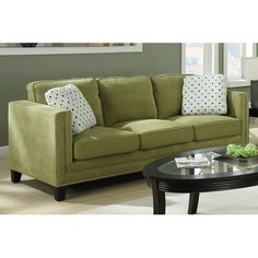 Apple Green Carelton Nail Head Sofa Emerald Home Furnishings Sofas Sofas & Sectionals Livi