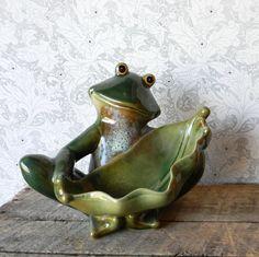 Ceramic Frog Pottery Planter - Vintage Glazed Pottery by ChesapeakeEmporium on Etsy https://www.etsy.com/listing/266867442/ceramic-frog-pottery-planter-vintage