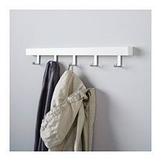 IKEA - TJUSIG, Wall/door rack with knobs, white, , You can mount this hanger in two ways, either on the wall or over the top edge of a door so that you can use the space to hang clothes, belts or bags.
