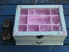 Light Blue & pink Shabby Chic Wooden Jewelry Box by tammnoony