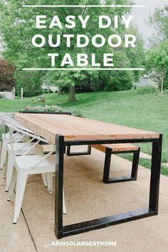 Deck Table, Diy Outdoor Table, Diy Outdoor Furniture, Outdoor Dining, Outdoor Patios, Outdoor Patio Tables, Tile Patio Table, Handmade Furniture, Outdoor Rooms