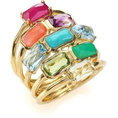 IPPOLITA Rock Candy Summer Rainbow Semi-Precious Multi-Stone & 18K... ($3,450) ❤ liked on Polyvore featuring jewelry, rings, apparel & accessories, gold, stackable rings, orange ring, tri color stackable rings, 18 karat gold ring and tri color gold ring