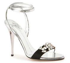 Giuseppe Zanotti Design Black & Silver Sandal with Rhinestone Decoration $795 #Brautschuhe #Weddingshoes