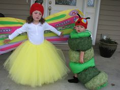 2011 Halloween costumes for my grandkids.  The very hungry caterpillar and the butterfly frim childrens book! Literary Costumes, Book Costumes, Book Week Costume, Cute Costumes, Halloween Costumes For Girls, Costume Ideas, Purim Costumes, Costume Contest, Sister Costumes
