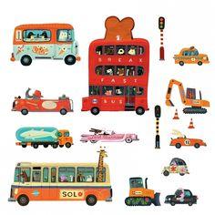 Djeco Pojazdy naklejki na ścianę Teo   Dadum