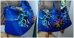 Sac Boston cousu par Gigi - SImili bleu, passepoil, imprimé étoile graffiti - Patron sac week-end Sacôtin