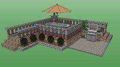 GeoStone Retaining Walls - Raised Patio - 3D Warehouse