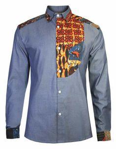 Men's African print shirt-Slim fit half bib front detail, fine twill soft touch… African Attire, African Wear, African Dress, African Print Fashion, Fashion Prints, African Print Shirt, Snapback Caps, African Shirts For Men, Style Africain